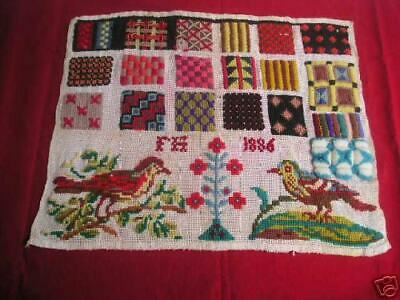 Antique Dutch Sampler dated 1886 Wool 19 panels showing textures & patterns