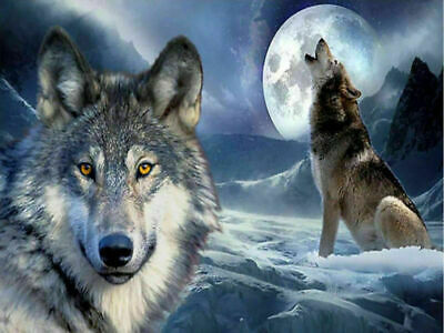 Full Drill Wolves 5D DIY Diamond Painting Embroidery Crafts Wall Decor AU STOCK
