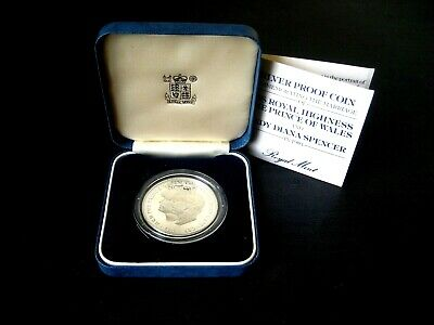 Wedding of Charles & Diana Silver Proof Crown Coin 1981, Box and COA, Royal Mint