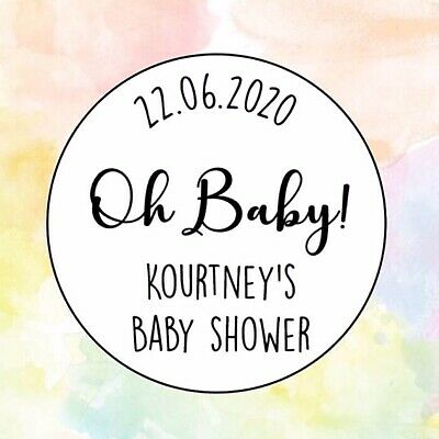 Oh Baby! Baby Shower Reveal 30mm Circle Personalised 35x Favours Sticker 138