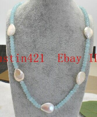 Natural 4x6mm Faceted Blue Aquamarine & 15x20mm Baroque Teardrop Pearl Necklace