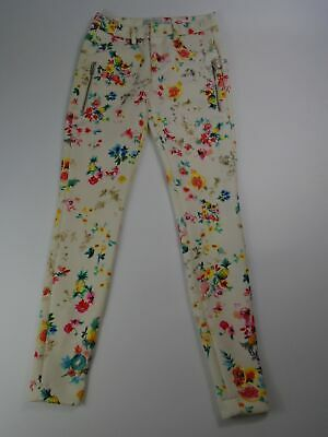 Womens Zara White Floral Patterned Skinny Fit Stretch Trousers Zip Ankles Xsmall