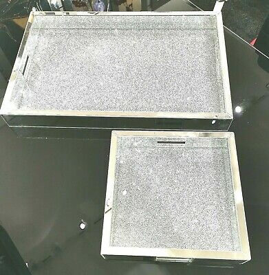 New, Diamond Crush Crystal Mirrored Serving Tray,  Bling Drinks Tray,