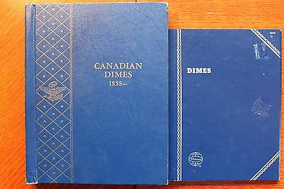 2 Albums 10c ten cents silver & nickel,Qty 124 lot  dime coin collection Canada