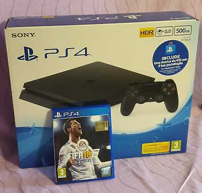 Console Sony PlayStation 4 SLIM + FIFA 18 - PS4 Slim 500 GB - Usata