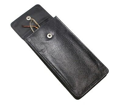 Soft Leather Spectacle Glasses Case Holder - BLACK Fathers Mothers Day Gifts