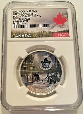 2017 $10 Toronto Maple Leafs First Releases NGC PF 69 Matte Canada Silver Coin