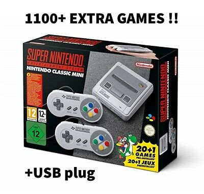 Official Super Nintendo SNES Classic Mini with over 1100 extra games! (USB Mod)