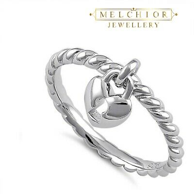 Melchior Jewellery Sterling Silver Locked Heart Dangle Band Ring Gift