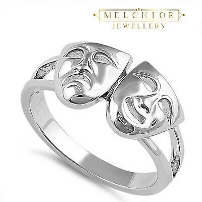 Melchior Jewellery Sterling Silver Comedy Theatre Tragedy Ring Gift Bag