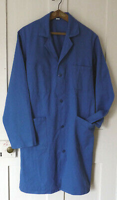 Traditional Vintage French Artisan Long Work Coat Azure Blue Cotton 48,Xl V Good