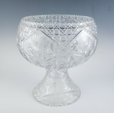 Exceptional Antique American Brilliant Period Cut Glass Punch Bowl on Pedestal