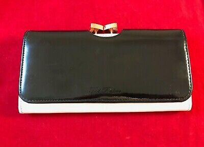 TED BAKER Black and Cream Leather Bow Tie Purse 19cm x 10cm x 2cm With Card