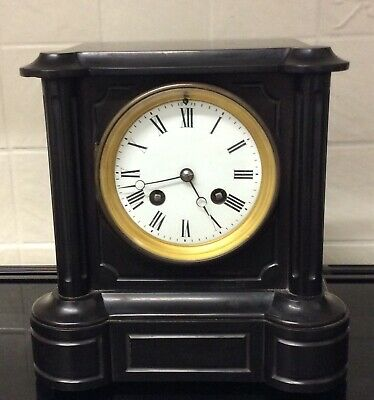 French Slate Mantle Clock Samuel Marti Paris
