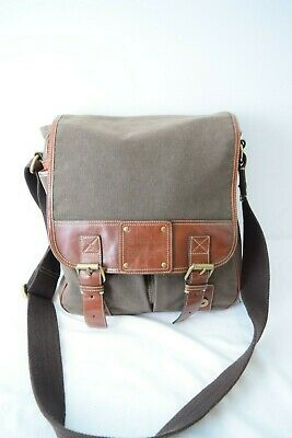 7695805bd MENS FOSSIL MESSENGER Bag Evan Flap Black / Brown Leather SGB1160001 ...
