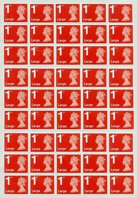 50 1st First Class Large Stamps RED Unfranked Off Paper No Gum