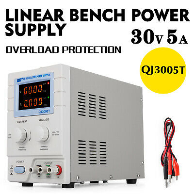 Adjustable DC Linear Bench Power Supply 4 Digit Display 0-30V 0-5A QJ3005T