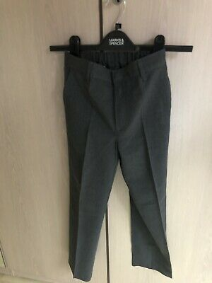 2 X Boys School Grey Trousers Marks And Spencer Waist 28.75in Inside Leg 21in