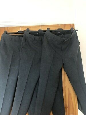 3 X Boys School Grey Trousers Marks And Spencer Waist 28in Inside Leg 22in