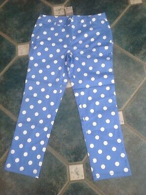 Next New Tags Girls Age 16 Sky Blue Trousers White Spots Funky