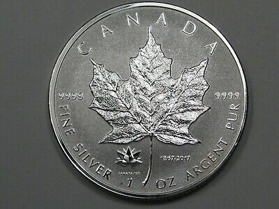 2017 Canadian $5 Silver Maple Leaf (w/ 150th Anniv Privy). 1 Troy oz .9999 Fine.