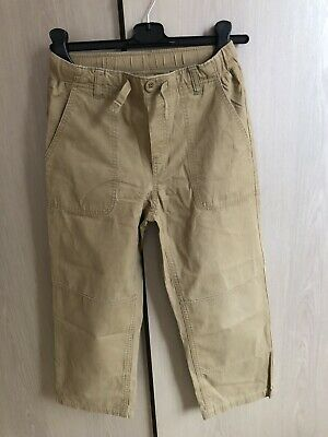 Lands End Boys Iron Knee Chino Trousers 10-11 Inside Leg 20.5in Sand 100% Cotton