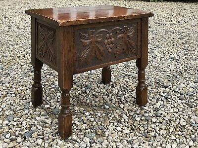 Vintage Old Charm Style Oak Carved Sewing Box / Slipper Box / Bible Box / Stool