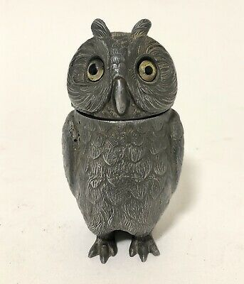 Good Antique Victorian Spelter Owl Inkwell with Glass Eyes Decorative Novelty