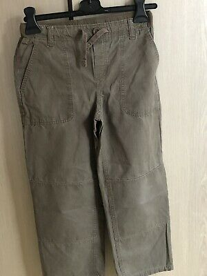 Lands End Boys Iron Knee Chino Trousers 10-11 Inside Leg 21in Brown 100% Cotton