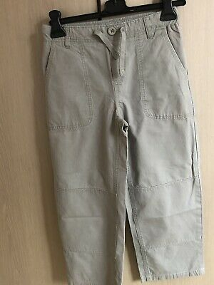 Lands End Boys Iron Knee Chino Trousers 10-11 Inside Leg 20.5in Grey 100% Cotton