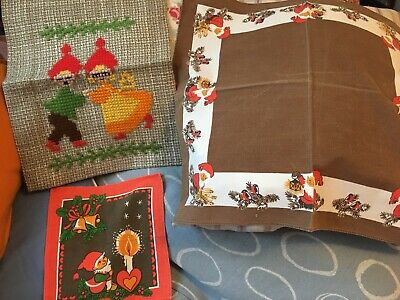 Vintage Scandinavian MidCentury Christmas Wall Hanging & Small Tablecloth Tompte