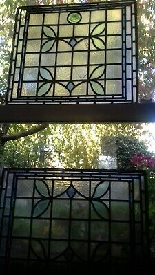 Antique Stained Glass Window Panel Leaded Art Nouveau CRACKS