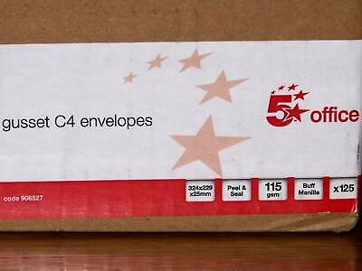 Manilla C4 gusset envelopes x 125, peel & seal 115gsm no window by 5 Star