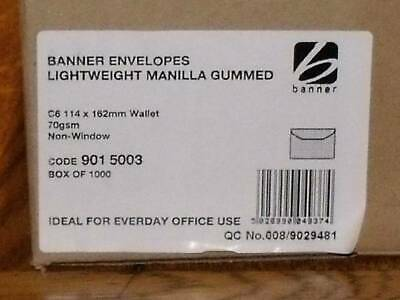 Manilla C6 wallet envelopes x 1000, gummed, 70gsm no window by Banner