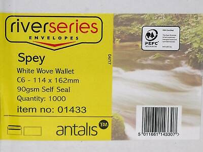 C6 white wove wallet envelopes x 1000, gummed, 90gsm, Antalis River Series Spey
