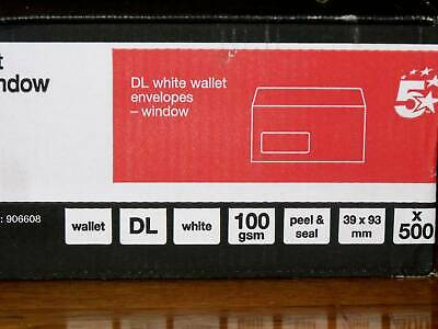 White DL wallet envelopes x 500, peel & seal, 100gsm, with window, 5 Star