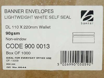 White DL wallet envelopes x 1000, self seal, 90gsm, no window, by Banner