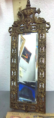 vintage large Brass Mirror, French style Fish on top, 19 x 6.25, nearly 4 pounds