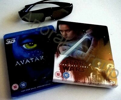 AVATAR+Star Wars Last Jedi #8 Steelbook 2D 3D Blu Ray + 2x Active LCD RF Glasses