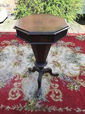 Victorian Walnut Trumpet Sewing Table/Box, For Restoration