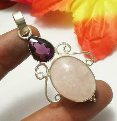 Rose Quartz Amethyst Gemstone Pendant 925 Silver Plated U220-B261