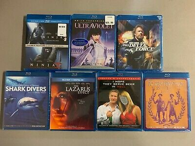 Blu-ray Lot New Free Ship Ninja 1 + 2 Ultraviolet Delta Force Shark Divers Lazar