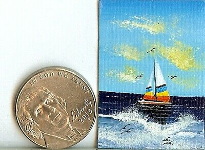 PRINT 2x1.5 Inch GLOSSY Seascape Sunset Ocean Dollhouse PRINT 1:12 Scale HYMES