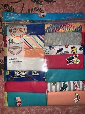 Wonder Nation ~ Girls Tagless 14-Pair Underwear Hipsters Cotton ~ Size 6
