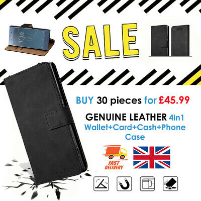BULK SALE 30 GENUINE Leather 4in1 Phone Wallet 30 FREE Screen Protector Black UK