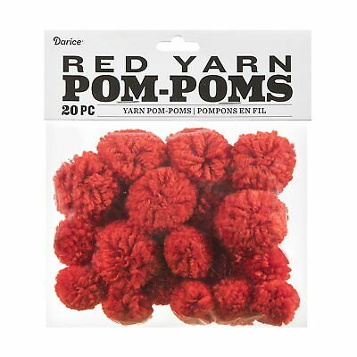 Red Yarn Pom Poms 1 & 1.5 inches Pack of 20 Craft Supplies for Kids or Holidays