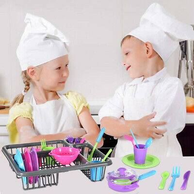 Kids Pretend Role Play Dishes Kitchen Playset Wash Dry Tableware Dish Rack Toy