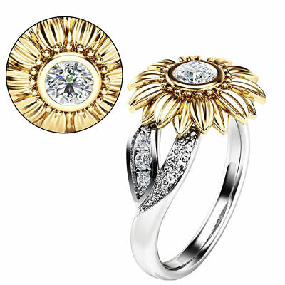 2019 Women Sunflower Silver Rose Gold Ring Plated Zircon Promise Wedding Jewelry