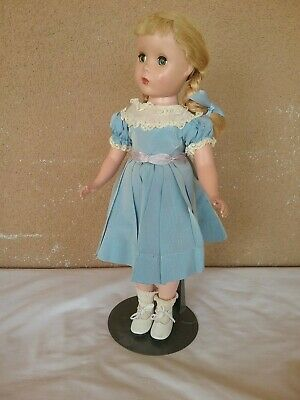 "Madame Alexander vintage doll Polly Pigtails 1940s Maggie face 14"" tagged dress"