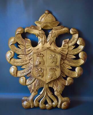 Antique Carved and Gilded Wood Wall Coat of Arms of Toledo Spain Crest